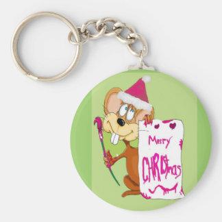 Ratón que pinta Felices Navidad Llaveros Personalizados
