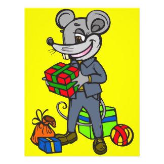 """Ratón que sostiene los regalos folleto 8.5"""" x 11"""""""