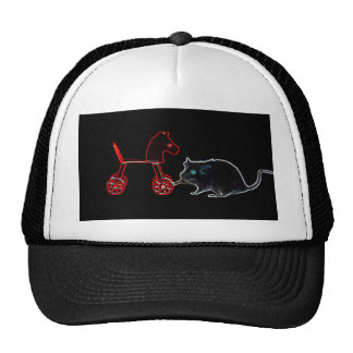 ratón que toca el esquema del caballo rodado gorras