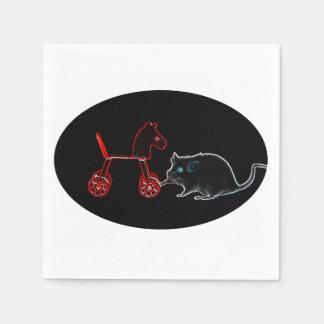 ratón que toca el esquema del caballo rodado servilletas desechables