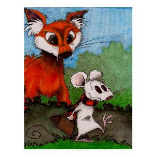 Ratón que viaja tarjetas postales