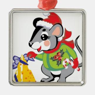 Ratón, queso, Felices Navidad Adorno Navideño Cuadrado De Metal