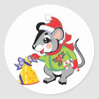 Ratón, queso, Felices Navidad Pegatina Redonda