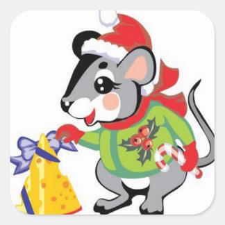 Ratón, queso, Felices Navidad Calcomanía Cuadradas Personalizadas