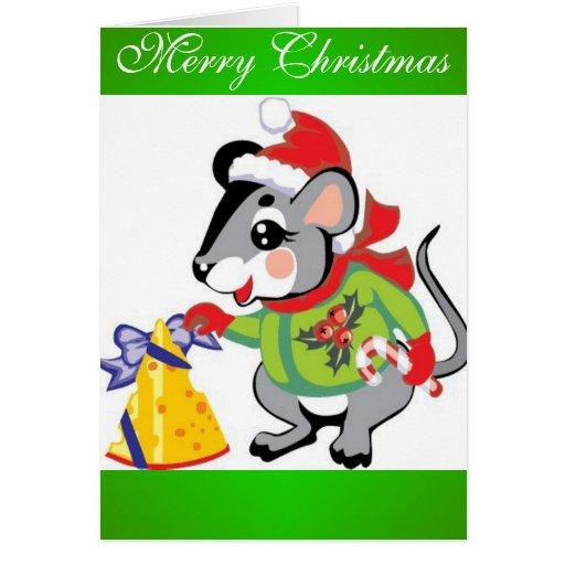 Ratón, queso, Felices Navidad Tarjeta