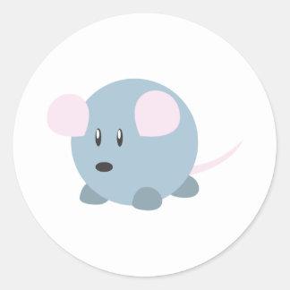 Ratón redondo lindo pegatina redonda