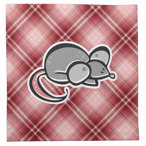 Ratón rojo de la tela escocesa servilletas imprimidas