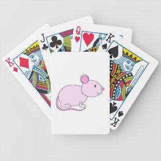 Ratón rosado barajas de cartas