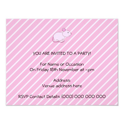 Ratón rosado lindo invitación 10,8 x 13,9 cm