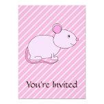 Ratón rosado lindo invitación 12,7 x 17,8 cm
