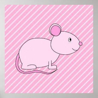 Ratón rosado lindo impresiones