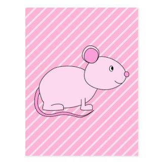 Ratón rosado lindo postal