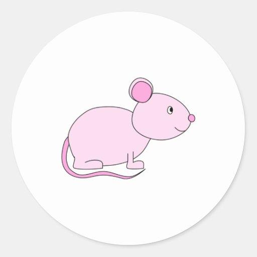 Ratón rosado pegatina redonda