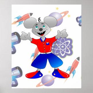 Ratón único y muy fresco del espacio póster