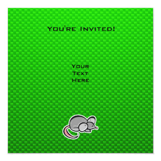 """Ratón verde invitación 5.25"""" x 5.25"""""""