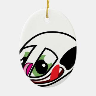 Ratón vivo del ordenador adorno navideño ovalado de cerámica