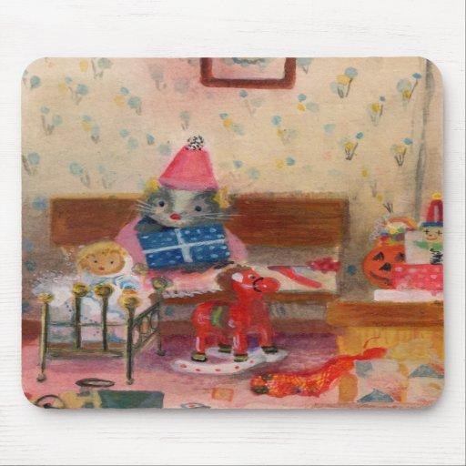 Ratón y bebé del cumpleaños del Dollhouse Tapetes De Ratones