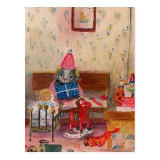 Ratón y bebé del cumpleaños del Dollhouse Tarjeta Postal