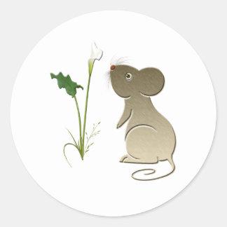 Ratón y cala lindos pegatina redonda