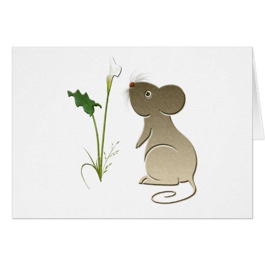 Ratón y cala lindos tarjeta de felicitación