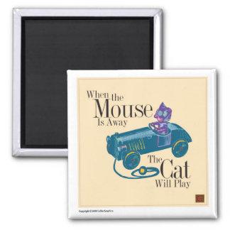 Ratón y gato imán cuadrado