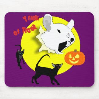 Ratón y gatos Mousepad de la calabaza de Halloween Alfombrillas De Raton
