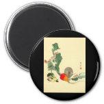 Ratón y rábano rojo, c.1800s de pintura japonés imán de nevera