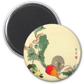 Ratón y rábano rojo, c.1800s de pintura japonés imán redondo 5 cm