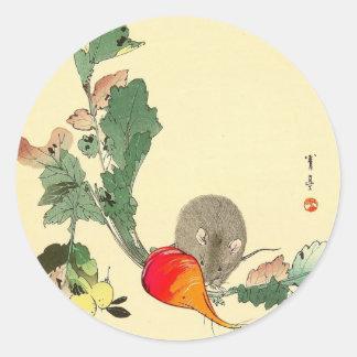 Ratón y rábano rojo, c.1800s de pintura japonés pegatina redonda