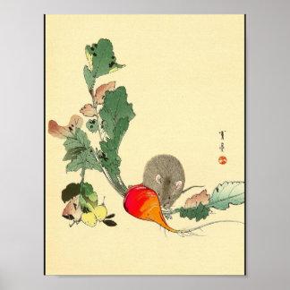 Ratón y rábano rojo, c.1800s de pintura japonés póster