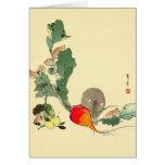 Ratón y rábano rojo, c.1800s de pintura japonés tarjeta