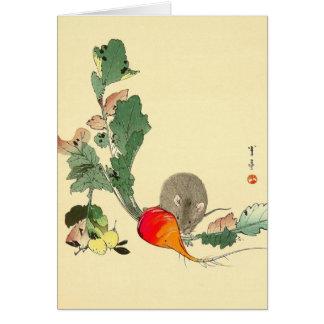 Ratón y rábano rojo, c.1800s de pintura japonés tarjeta de felicitación