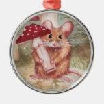 Ratón y seta del día de fiesta ornamento de reyes magos