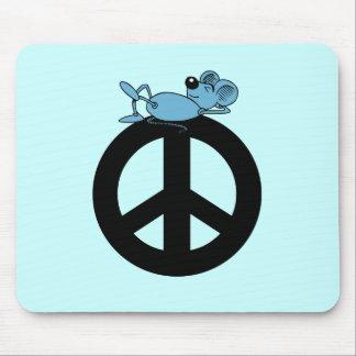 Ratón y símbolo de paz alfombrilla de ratón