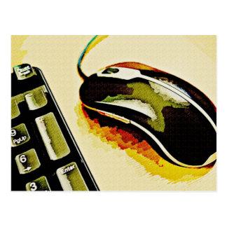 Ratón y teclado tarjeta postal