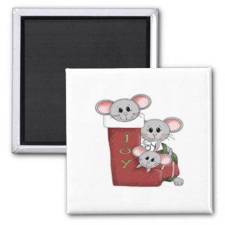 Ratones alegres imán cuadrado