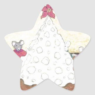 Ratones alrededor de un árbol de navidad del queso calcomania forma de estrella