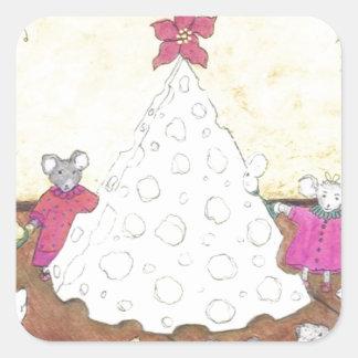 Ratones alrededor de un árbol de navidad del queso pegatina cuadrada