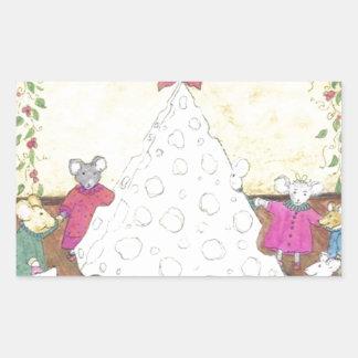 Ratones alrededor de un árbol de navidad del queso pegatina rectangular