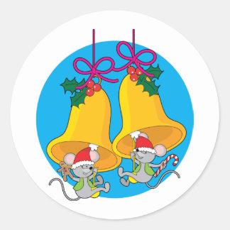 Ratones de Bell de navidad Pegatina Redonda