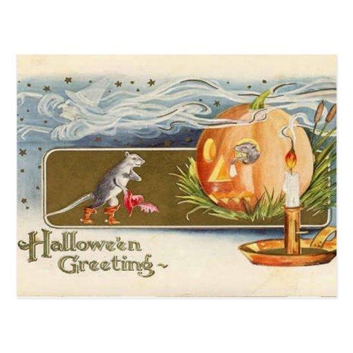 Ratones de Halloween del vintage del KRW Tarjetas Postales