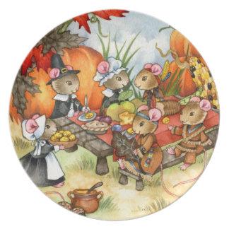 Ratones de la acción de gracias - placa linda platos