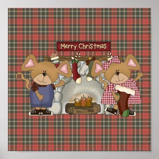 ratones de la chimenea de las Felices Navidad Póster