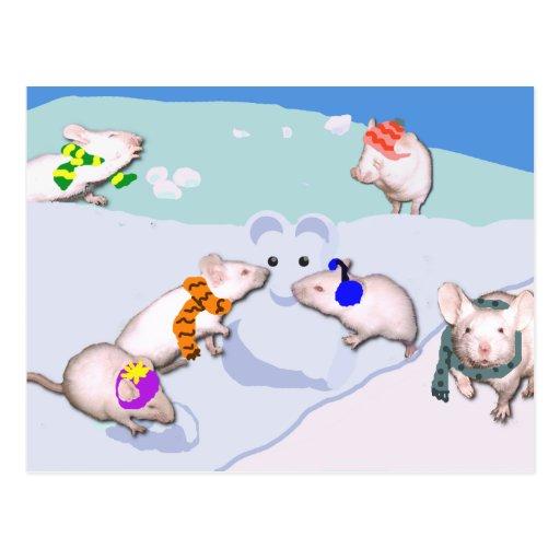 Ratones de la nieve postal