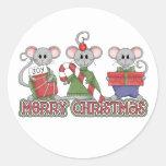 Ratones de las Felices Navidad Etiqueta Redonda
