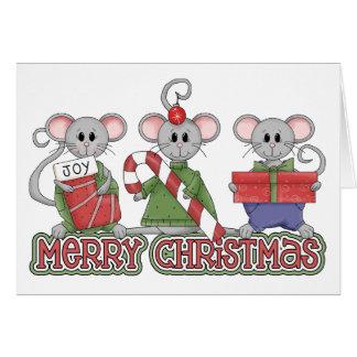 Ratones de las Felices Navidad Tarjetón