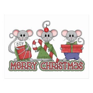 Ratones de las Felices Navidad Postal