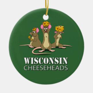 Ratones de Wisconsin Cheesehead Adorno Navideño Redondo De Cerámica