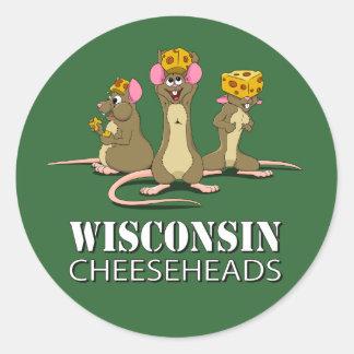 Ratones de Wisconsin Cheesehead Pegatina Redonda