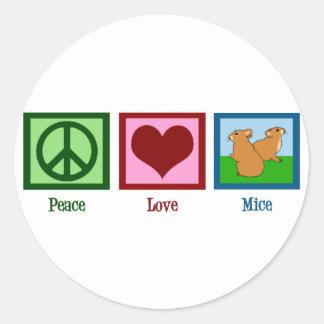 Ratones del amor de la paz pegatina redonda